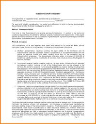 subcontractor agreement form contractor template purchase contract