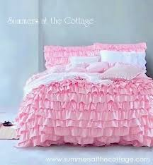 pink layered ruffle quilt set pink ruffled bedding