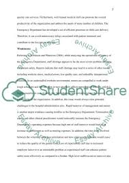 swot analysis of the emergency department essay swot analysis of the emergency department essay example