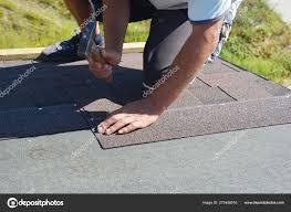 Roofer Repair Renovating Installing Asphalt Shingles On
