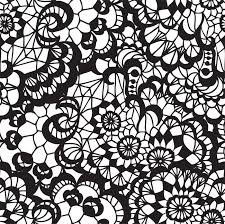 lace black seamless pattern with flowers on white background vinyl wall mural art and creation