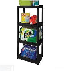 plastic storage shelves. plastic storage shelves organizer unit heavy duty kitchen garage shelf black new