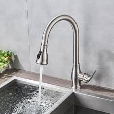 Us 588 40 Offbrushed Nickel Spring Kitchen Sink Faucet Sprayer Stream Spout Pull Down Kitchen Mixers Deck Mounted Hot And Cold Tap In Kitchen