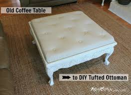 thrift coffee table turned diy tufted ottoman artsy rule