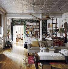 ... Interior, Style Bohemian Home Decor With Wooden Floor And Cream Sofa  Also Red Carpet With ...