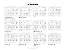 Year 2019 Calendar With Week Numbers Printable Weekly