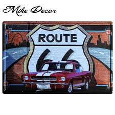 vintage metal wall decor mike86 route 66 red car poster metal plaque art wall decor
