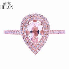 <b>HELON</b> Solid 14k Rose Gold Two Halos Natural Diamonds ...