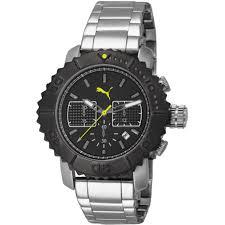 puma gallant pu103561001 gents 44mm silver steel bracelet case puma pu103561001 wristwatch men silver chronograph wristwatch chrono silver