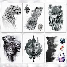 Vodotěsný Dočasné Tetování Nálepka Vlk Tygr Vzor Tetování Převodu