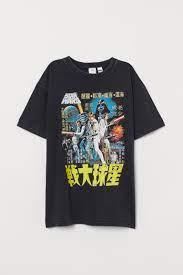 Oversize-T-Shirt mit Druck - Schwarz ...