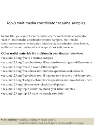 top 8 multimedia coordinator resume samples in this file you can ref resume materials for sample multimedia cover letter