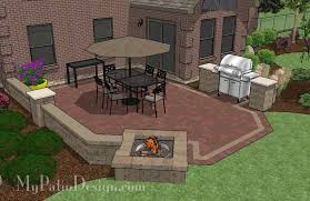 backyard brick patio design with grill station seating wall and backyard paver patio designs