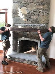 how to install a wooden beam mantel with rebar steel rebar rod install on stone