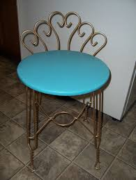 metal vanity stool. Perfect Metal Vintage Retro Aqua Turquoise Vanity Chair Stool W Goldtone Metal Legs U0026  Back  Sold By Town Consignment Boutique Throughout
