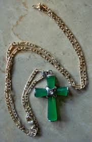 natural green jade cross pendant necklace hover over image to zoom