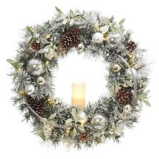Battery Pack Lights For Wreath Null 30 In Battery Operated Snowy Silver Pine Artificial