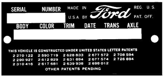 Ford Vin Decoder Chart Early Ford Serial Numbers For Cars And Trucks Manufactured