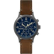 timex mens expedition brown leather strap watch tw4b09000