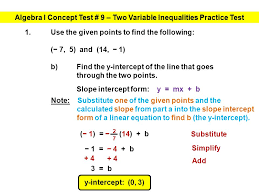 algebra i concept test 9 two variable inequalities practice test