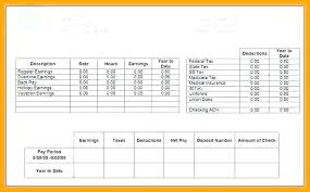 Self Employed Pay Stub Template