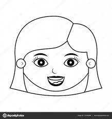 髪型のシルエットを笑っている正面顔女の子 ストックベクター