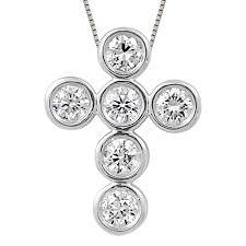 6 diamond bezel set cross