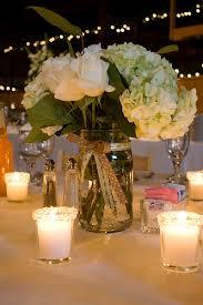 Decorating Mason Jars With Ribbon Wedding Reception Centerpieces With Mason Jars Romantic wedding 64
