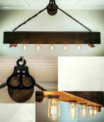 reclaimed wood light fixture beam light fixture beam chandelier with bulbs rope and pulley wood beam