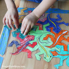 The coloring pages are also very cool. Print And Color Tessellation Puzzles For Kids Frugal Fun For Boys And Girls