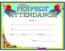 free perfect attendance certificate printable perfect attendance awards school certificates templates