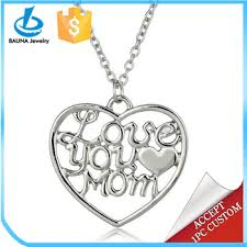 Quote Jewelry Impressive Simple Love Quote Jewelry Love You Mom Heart Pendant Mother Necklace