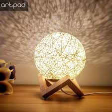 artpad romantic round moon night light led 3w wicker table usb led night light with remote control baby boy girl gift led table lamps led table lamps