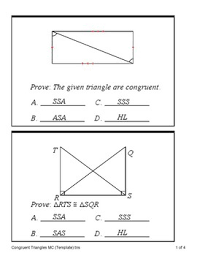 Triangle Proofs Triangle Congruence Proofs Sss Sas Asa Aas And Hl Quiz