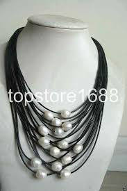 details about new 11 12mm white baroque freshwater pearl multi strand black leather necklace