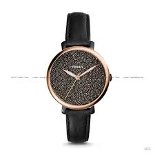 fossil es4097 women s jacqueline crystals display leather strap black