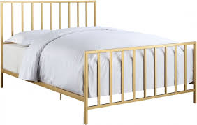 gold bed frame queen. Unique Gold AllInOne Slat Style Brushed Gold Queen Metal Bed On Frame M