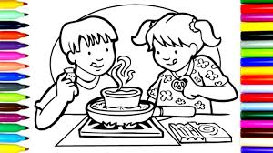 Small Picture How To Draw Kids Cooking Coloring Pages Kids Learn Drawing
