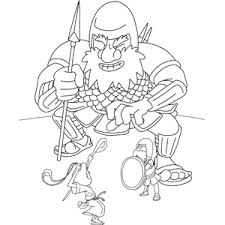 Small Picture David and Goliath Coloring Page