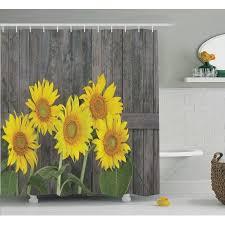 Sunflower Decor Shower Curtain Set, Helianthus Sunflowers Against Weathered  Aged Fence Summer Garden Photo Print