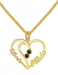 kaya jewellery heart shaped birthstone necklace 2 names