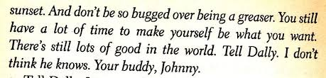 what is the significance of johnny s letter in the outsiders how does it help with character development and or supporting the theme of the book