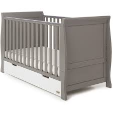 obaby stamford classic sleigh cot bed and drawer taupe grey with white