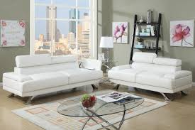 White Leather Living Room Poundex Boyn F7370 White Leather Sofa And Loveseat Set Steal A