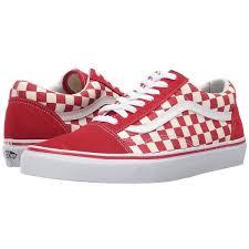 vans shoes red and white. vans old skool ((primary check) racing red/white) skate shoes ( red and white c