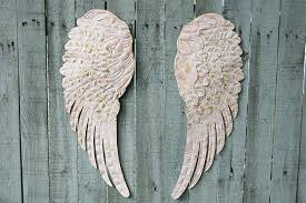 angel wings wall pink decor art sculpture plaque