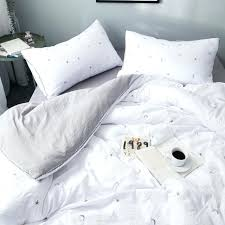 white duvet set white duvet cover star moon embroidered washed cotton bedding sets gray bedding sheet