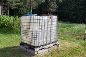 square plastic water tank in the gardenrainwater recuperator baril ibc52
