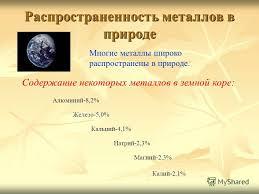 Презентация на тему Получение металлов теория Курсовая работа  3 Распространенность