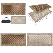 details about 9 x 18 feet reversible outdoor mat rv camper trailer patio deck camping area rug